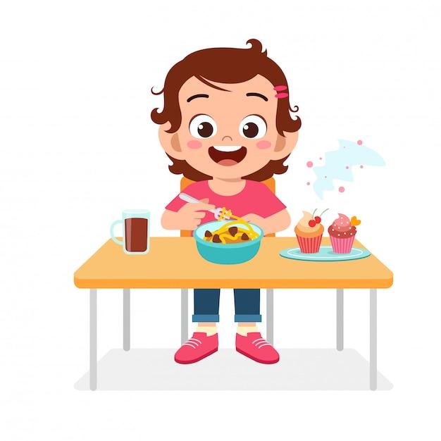 Feliz Niña Niño Lindo Comer Alimentos Saludables Vector Premium