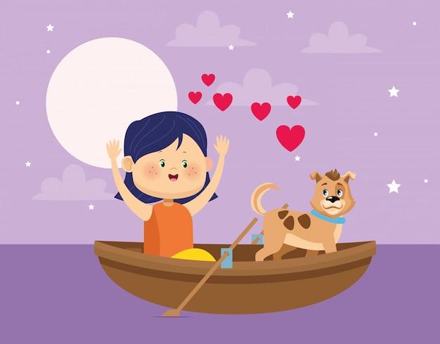 Feliz niña y perro en canoa de madera Vector Premium