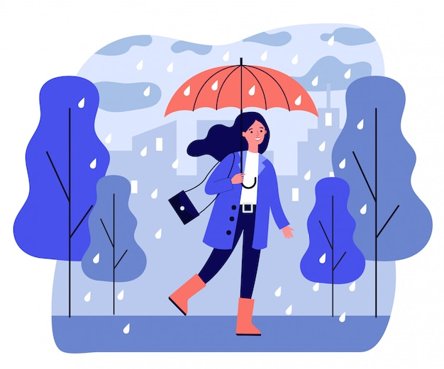 Feliz niña sonriente con paraguas caminando en día lluvioso Vector Premium