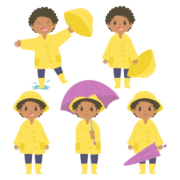 Feliz niño afroamericano en impermeable amarillo y paraguas púrpura conjunto de vectores Vector Premium