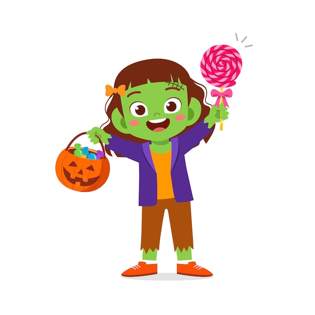 Feliz niño lindo celebrar halloween viste disfraz de monstruo de frankenstein Vector Premium