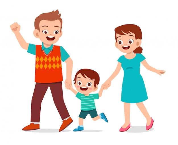 Feliz niño lindo niño pasear con mamá y papá Vector Premium