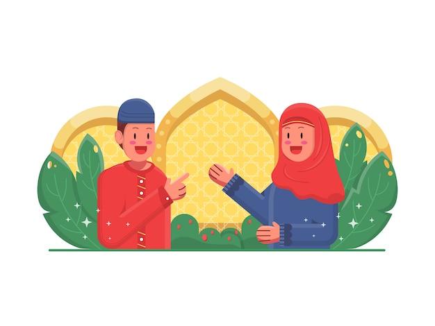 Feliz niño y niña ilustración islámica Vector Premium