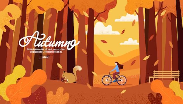 Feliz otoño, acción de gracias, mujeres andar en bicicleta en el jardín de otoño. Vector Premium