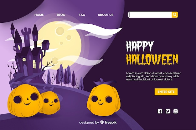 Feliz página de aterrizaje de halloween vector gratuito
