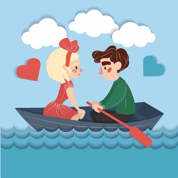 Feliz pareja en el barco Vector Premium