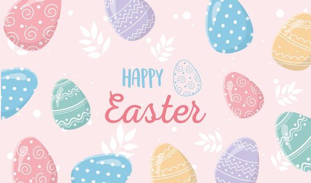 Feliz pascua delicada decoración huevos ornamentados banner Vector Premium