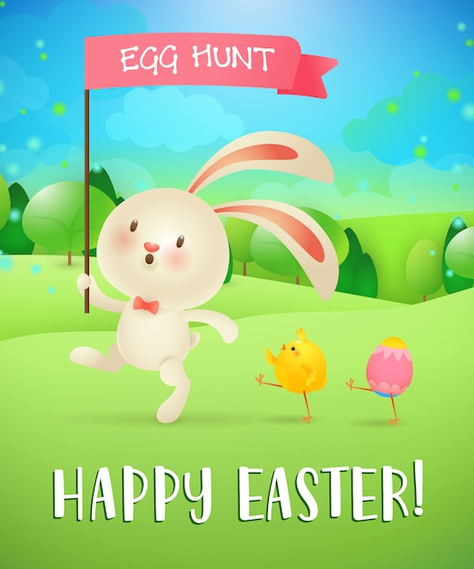 Feliz pascua, letras de caza de huevos, conejito, pollito, huevo, paisaje vector gratuito
