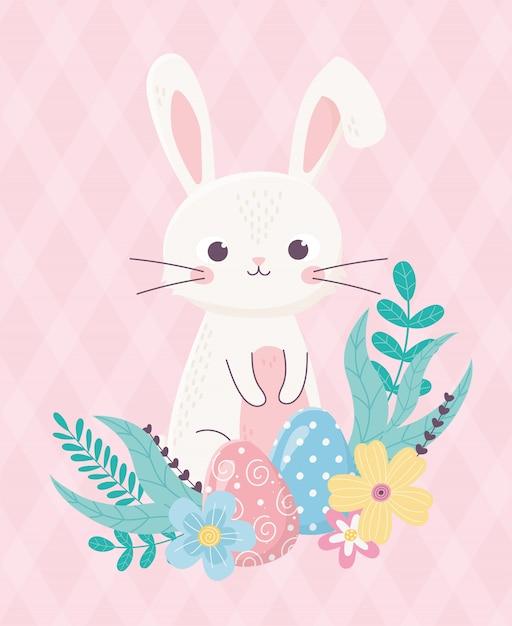 Feliz pascua lindo conejo y huevo flores follaje dibujos animados Vector Premium
