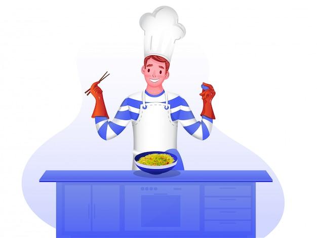 Feliz personaje de chef. Vector Premium
