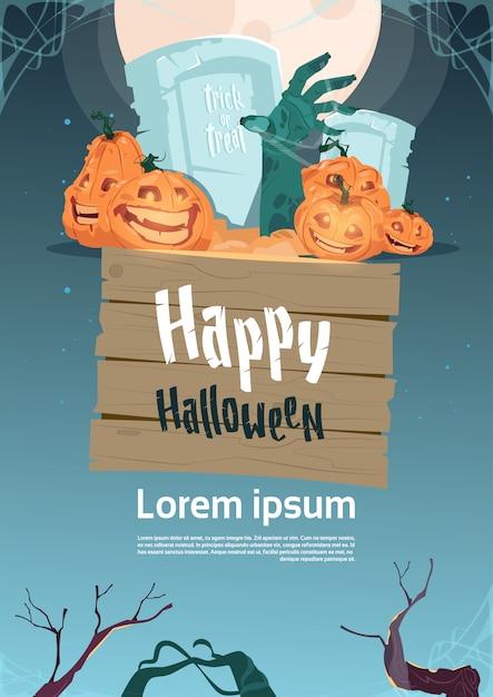 Feliz plantilla de cartel de fiesta de halloween. decoración tradicional de calabazas en el cementerio Vector Premium