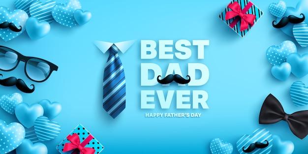 Feliz plantilla de pancarta para el día del padre con lindo corazón, caja de regalo, corbata y gafas. saludos y regalos para el día del padre Vector Premium