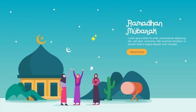 Feliz ramadan mubarak banner Vector Premium