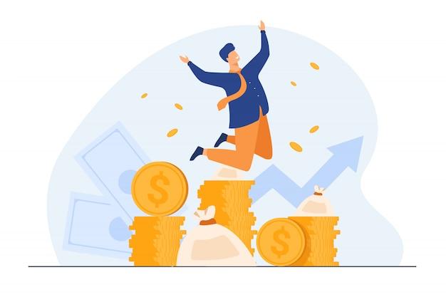 Feliz rico banquero celebrando el crecimiento de los ingresos vector gratuito