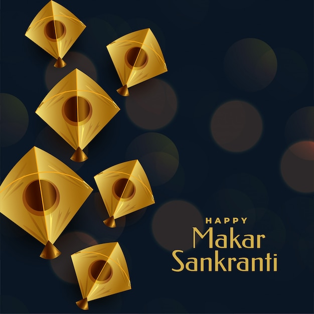 Feliz saludo festival makar sankranti con cometa dorada vector gratuito