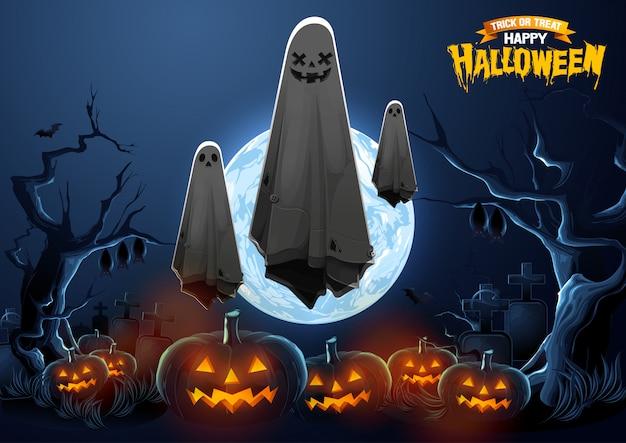 Feliz saludo de halloween con ghost flotando en el aire y calabazas en la noche. Vector Premium