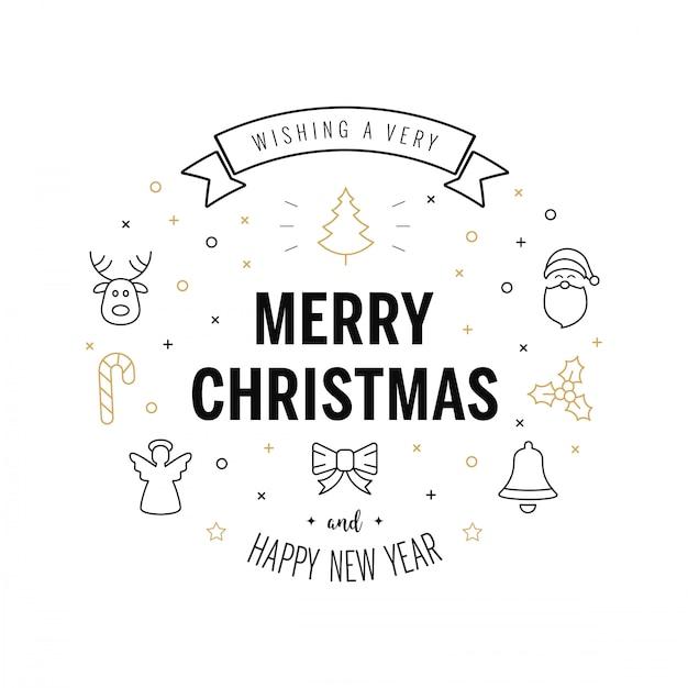Feliz saludo de navidad texto Vector Premium