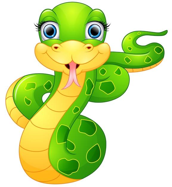 Feliz Serpiente Verde De Dibujos Animados Descargar Vectores Premium