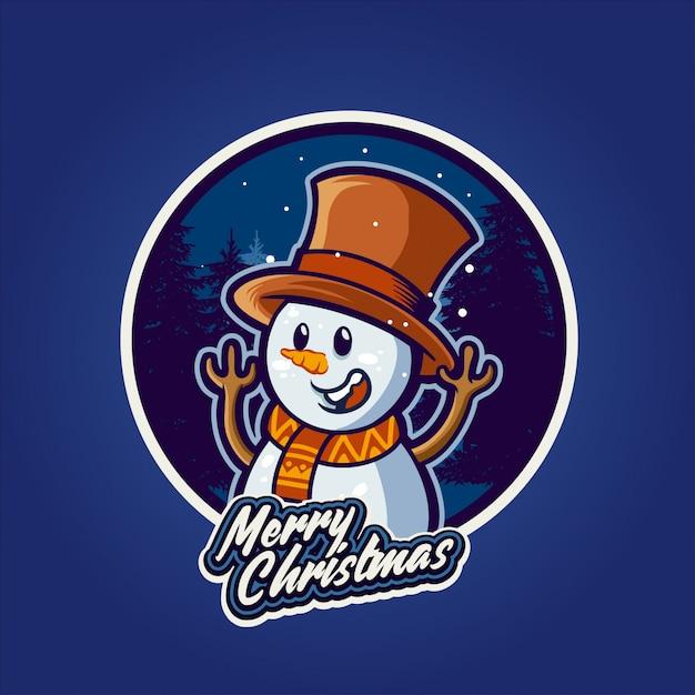 Feliz snowman en navidad Vector Premium