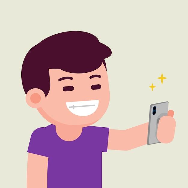 Feliz sonriente alegre alegre joven tomando selfie con smartphone, vector ilustración plana. Vector Premium