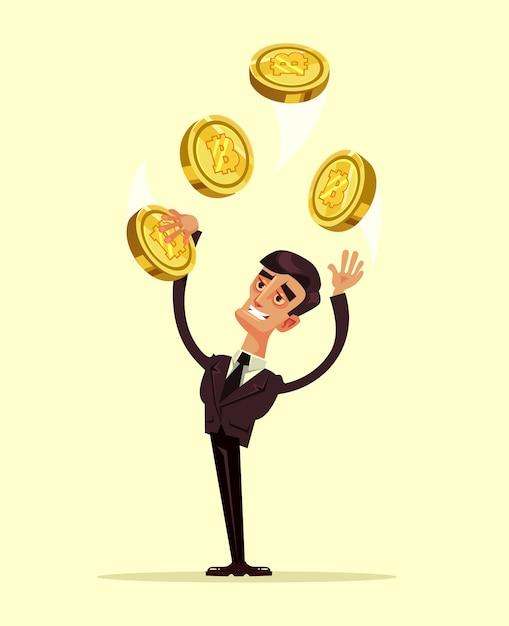 Feliz sonriente personaje de hombre mantenga bitcoin. ilustración de dibujos animados plana Vector Premium