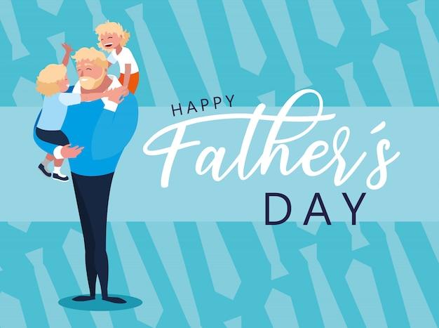 Feliz Tarjeta Del Día Del Padre Con Papá E Hijos Vector