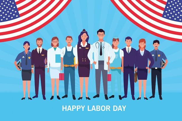 Feliz tarjeta del día del trabajo, vacaciones en estados unidos Vector Premium