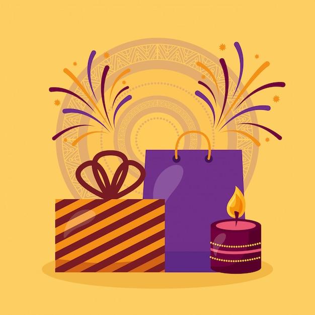 Feliz tarjeta de diwali con regalos y velas de celebración vector gratuito