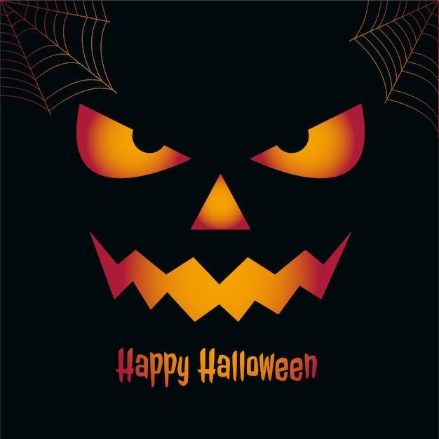 Feliz tarjeta espeluznante de halloween con cara de miedo vector gratuito