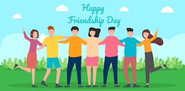 Feliz tarjeta de felicitación del día de la amistad con un grupo diverso de amigos que se abrazan para celebrar un evento especial Vector Premium