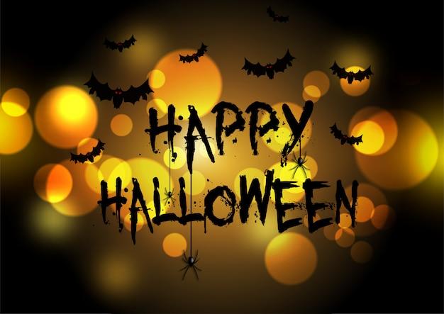 Feliz tarjeta de felicitación de halloween con diseño de luces bokeh vector gratuito