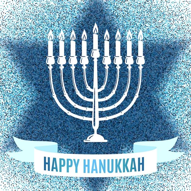 Feliz tarjeta de felicitación de hanukkah. Vector Premium