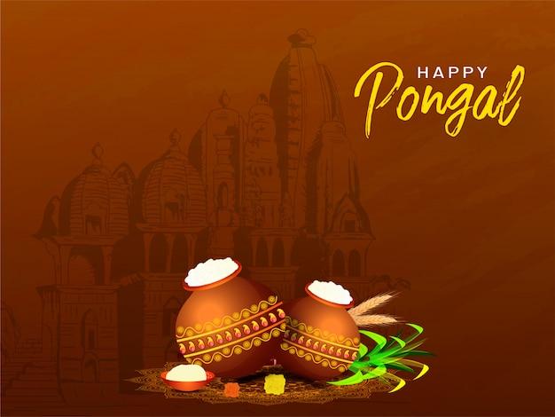 Feliz tarjeta de felicitación de pongal con olla de barro llena de arroz pongali, caña de azúcar y espiga delante de la vista del templo en marrón. Vector Premium