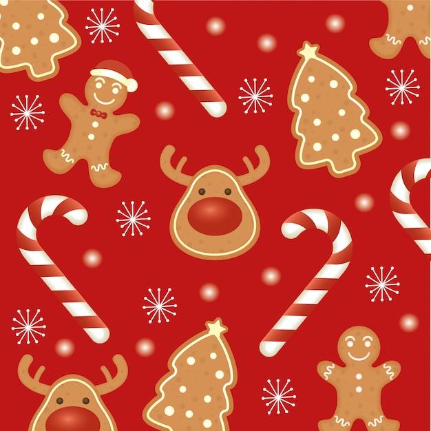 Feliz tarjeta de feliz navidad con patrón de galletas de jengibre vector gratuito