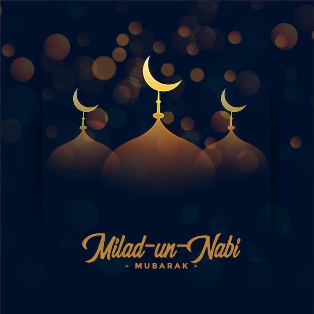 Feliz tarjeta del festival milad un nabi con mezquita vector gratuito