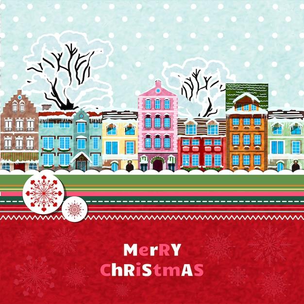 Feliz tarjeta de invitación de navidad vector gratuito