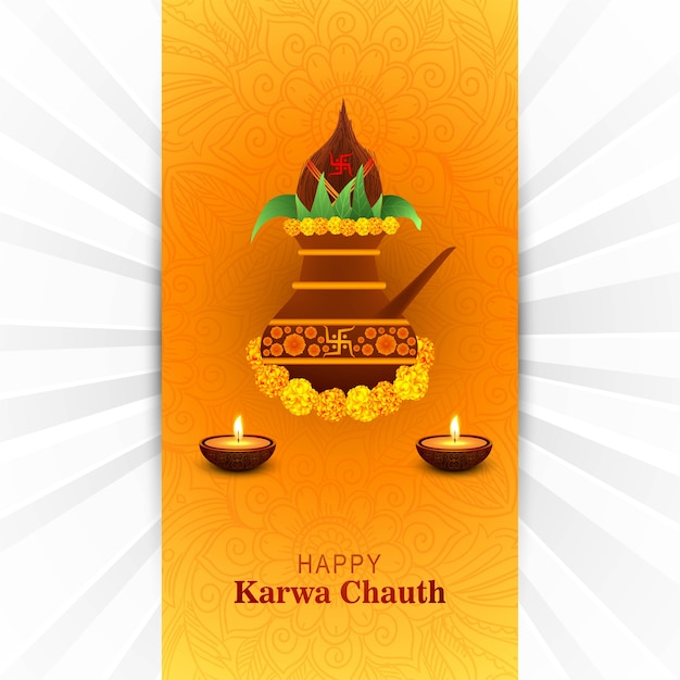 Feliz tarjeta karwa chauth vector gratuito