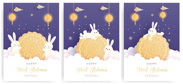 Feliz tarjeta de mediados de otoño con lindo conejito y pastel de luna. Vector Premium