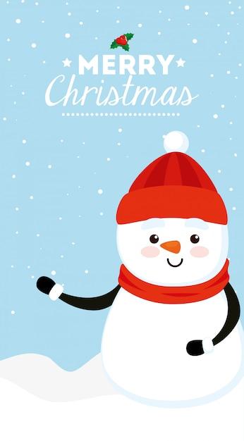 Feliz tarjeta de navidad con muñeco de nieve vector gratuito