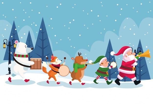 Feliz tarjeta de navidad con personajes tocando instrumentos diseño ilustración vectorial Vector Premium
