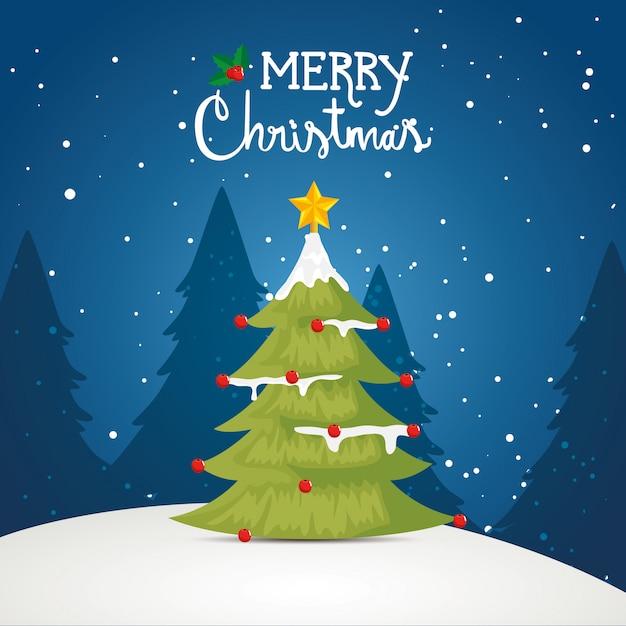 Feliz tarjeta de navidad con pino en paisaje de invierno vector gratuito
