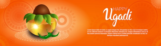 Feliz ugadi y gudi padwa tarjeta de felicitación de año nuevo hindú holiday pot con coco Vector Premium