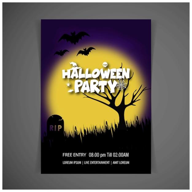 Feliz Vector De Diseño De Tarjeta De Invitación De Halloween