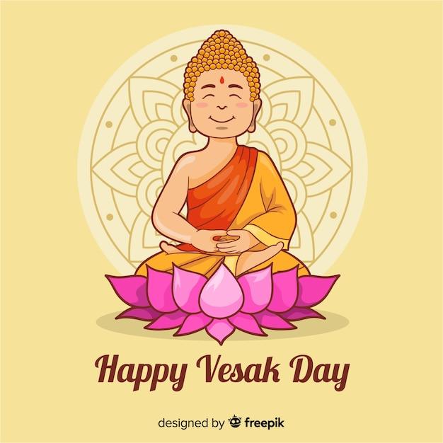 Feliz vesak day vector gratuito