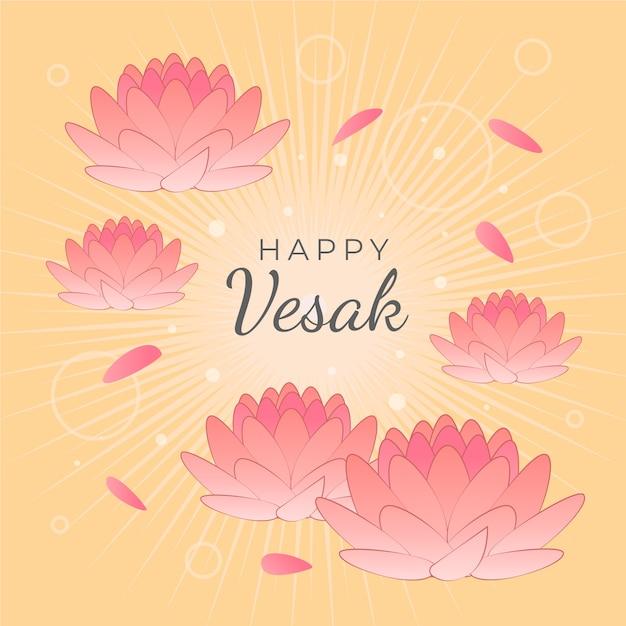 Feliz vesak con flores de loto vector gratuito