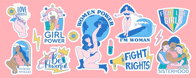 Feminista y cuerpo positivo conjunto de colección de diseños de insignias de pegatinas. ilustración de dibujos animados de movimientos femeninos con citas inspiradoras. apoyo de poder a mujeres y niñas. signos de moda hipster. Vector Premium