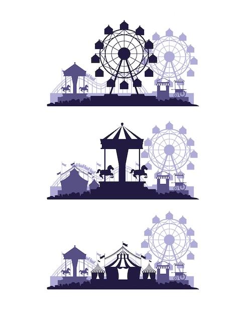 Feria del festival de circo ambientada en escenarios de colores azul y blanco. vector gratuito