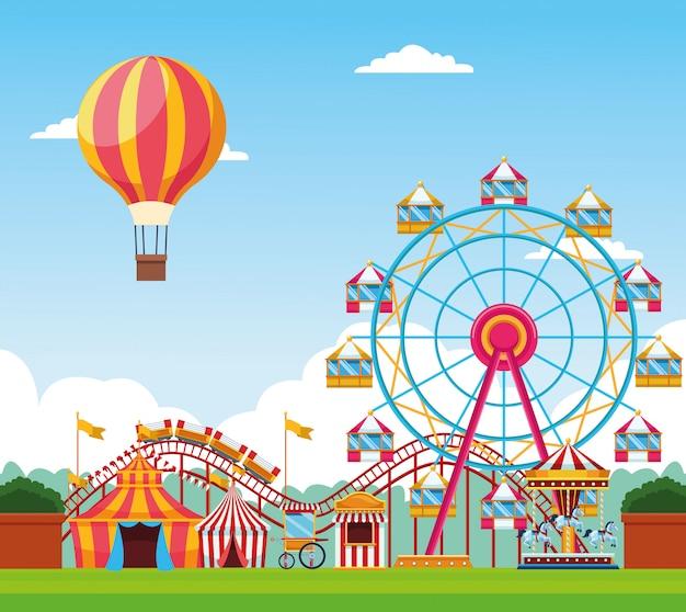 Feria de festivales con divertidas atracciones paisajísticas. vector gratuito