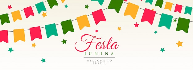 Festa junina banderas guirnalda decoracion banner vector gratuito