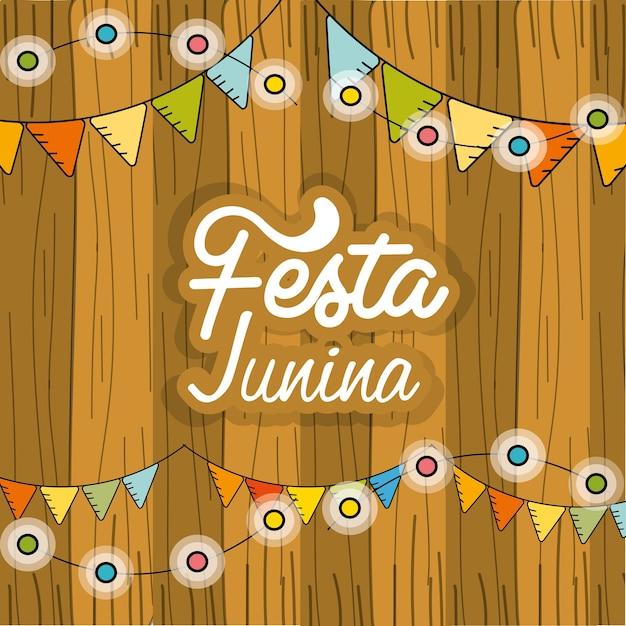 Festa junina con bombillas de cadena y fondo de madera Vector Premium